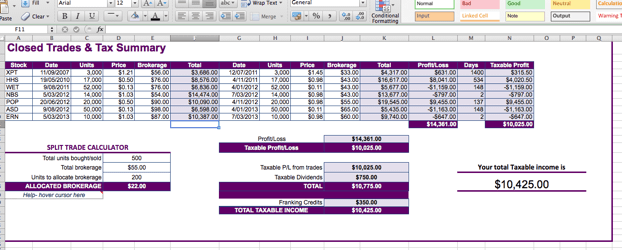 tax spreadsheet templates